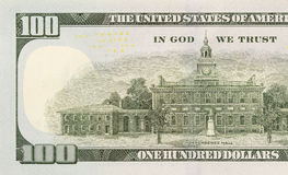 Back Left Half of the New One Hundred Dollar Bill Stock Images