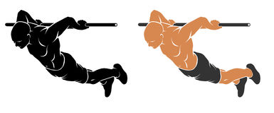 Back Lever exercise. Vector illustration of man performing Back Lever Stock Photography