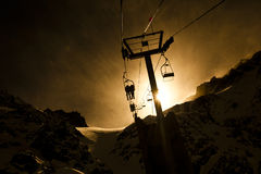 Back-light of chairlift at windy day Stock Photography