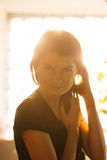 Back light portrait of a beautiful woman Stock Images
