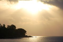 Back light silhouette at the beach in the Seychelles Royalty Free Stock Photography
