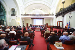 Back of listeners on Russia Marine Industry Conference 2012 Stock Photo