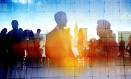 Back Lit Business People Cityscape Meeting Concept Royalty Free Stock Images