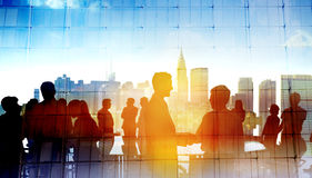 Back Lit Business People Cityscape Meeting Concept Royalty Free Stock Image