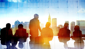 Back Lit Business People Cityscape Meeting Concept Stock Photography