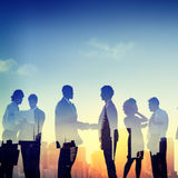 Back Lit Business People Communication Greeting Handshake Concep Stock Images