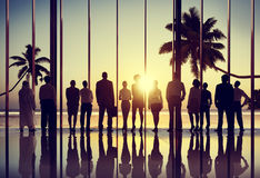 Back Lit Business People Corporate Summer Togetherness Concept Royalty Free Stock Image