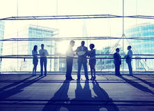 Back Lit Business People Discussion City Scape Meeting Concept Stock Images
