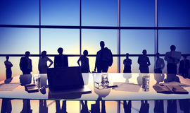 Back Lit Business People Discussion Cityscape Meeting Concept Royalty Free Stock Image