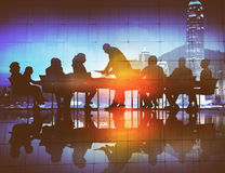 Back Lit Business People Discussion Cityscape Meeting Concept Royalty Free Stock Images