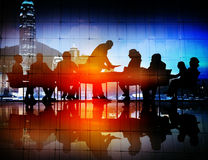 Back Lit Business People Discussion Cityscape Meeting Concept.  Royalty Free Stock Photos