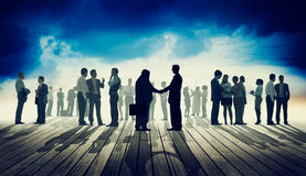 Back Lit Business People Discussion Skyline Concept Stock Photography