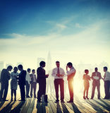 Back Lit Business People Discussion Skyline Concept.  Stock Image