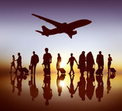 Back Lit Business People Traveling Airplane Airport Concept Royalty Free Stock Photo