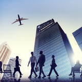 Back Lit Business People Traveling Airplane Airport Concept Royalty Free Stock Image