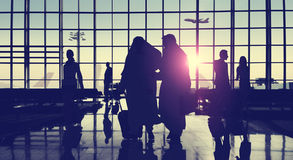 Back Lit Business People Traveling Airport Passenger Concept Royalty Free Stock Photo