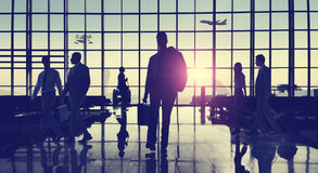 Back Lit Business People Traveling Airport Passenger Concept Royalty Free Stock Images