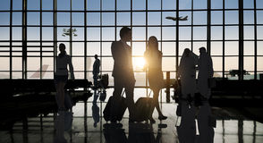 Back Lit Business People Traveling Airport Passenger Concept Stock Image