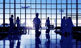 Back Lit Business People Traveling Airport Passenger Concept Royalty Free Stock Image