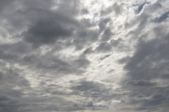 Back lit clouds day light Sheltered direct sun light. Sun blocked by cloud covering on a nice sunny day royalty free stock photo