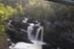 Back lit Cobweb With Waterfall Background. A cobweb on a steel rope bridge, back lit with a blurred and out of focus waterfall in the background stock photography