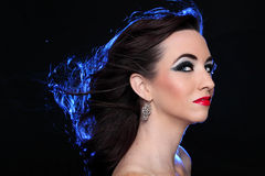Back lit Glamour Portrait of Confident Model Royalty Free Stock Images