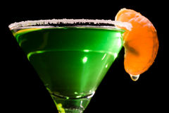 Back Lit Martini Glass With Absinthe Cocktail Stock Photos