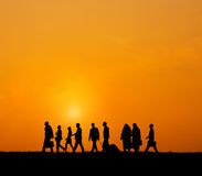 Back Lit People Togetherness Outdoors Concept Royalty Free Stock Image