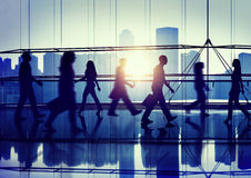 Back Lit People Walking Mall Cityscape Shopaholic Concept Stock Image