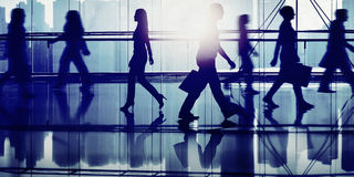 Back Lit People Walking Mall Cityscape Shopaholic Concept stock photography