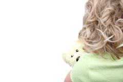 Back of Little Girl Holding Teddy Bear Stock Image