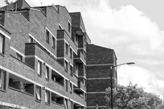 Back of London Flats. With plants, trees and street lights Stock Photography