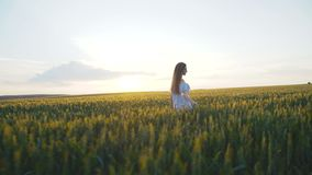 Back look of the girl walking fast in a green field of a young 4K stock video footage