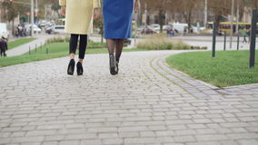 Back look of legs of two girls in coats walking on the pavement 4K.  stock video