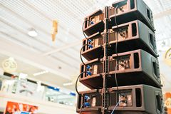 Back of louds audio speakers and sound system in hall stock photos