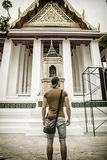 Back of male tourist in Grand Palace, Bangkok Royalty Free Stock Photos