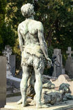 Back of man bronze sculpture at Monumental Cemetery, Milan Royalty Free Stock Images