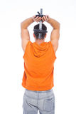 Back of a man doing exercises Royalty Free Stock Photography