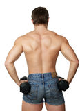 Back the man with dumbbells Royalty Free Stock Photography