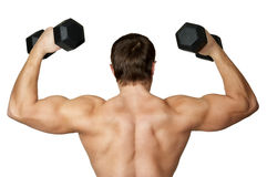 Back the man with dumbbells stock photo