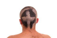 Back of man head with funny haircut isolated on w Stock Photography