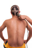 Back of man head while his hair is cut in a funny Royalty Free Stock Images