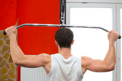 Back of a man lifting weights. Back of a man at the gym lifting weights on the windlass royalty free stock photography
