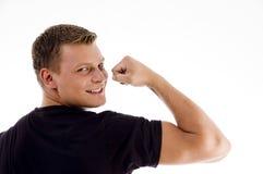 back man muscles muscular pose showing Στοκ Φωτογραφίες