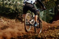 Back man rider downhill Royalty Free Stock Photography