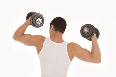 Back of man working out in a tank top. A view from the back of a man with his arms up and weights in his hands Royalty Free Stock Photo