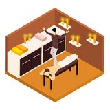 Back Massage Isometric Illustration Royalty Free Stock Photos
