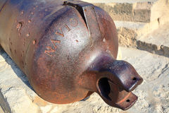 The back of the medieval cannon in the Castle Santa Barbara, Alicante Spain. Close-up Stock Photos