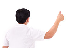 Back of middle age man giving thumb up Stock Image
