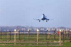 Back from a mission. Eurofighter landing at airbase after flying a mission Royalty Free Stock Images